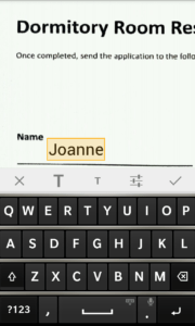Screenshot of Write feature on BlackBerry