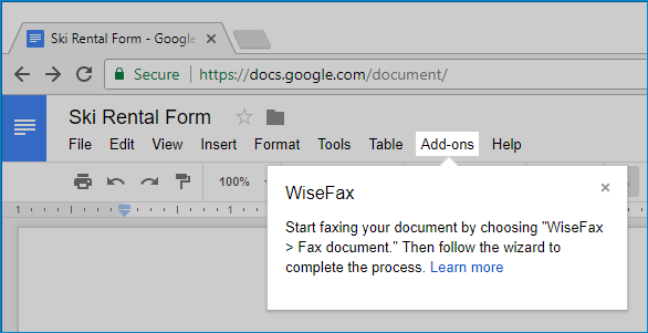 Send fax from Google Docs with WiseFax