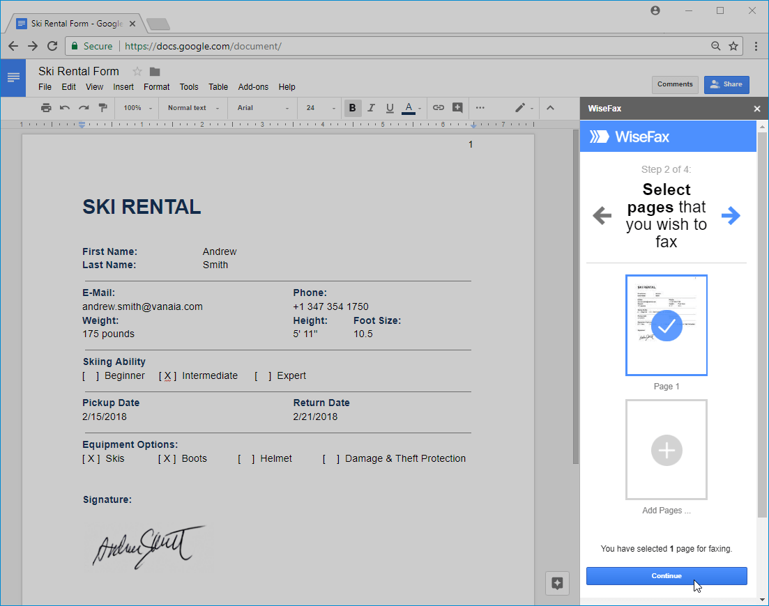 WiseFax add-on for Google Docs